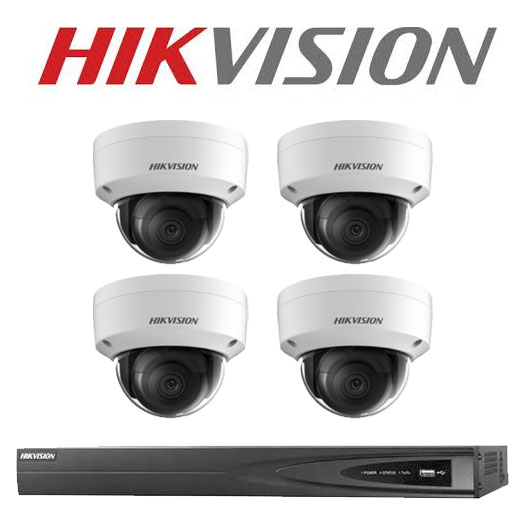8MP 4CH Hikvision CCTV Kit: 4 x Outdoor Vandalproof Domes + 4CH NVR