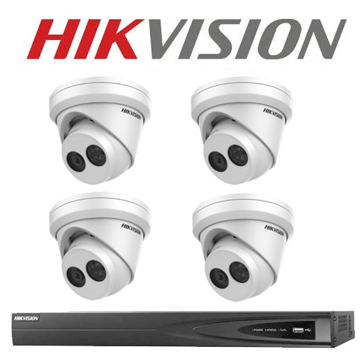8MP 4CH Hikvision CCTV Kit: 4 x Outdoor Turret Cameras + 4CH NVR